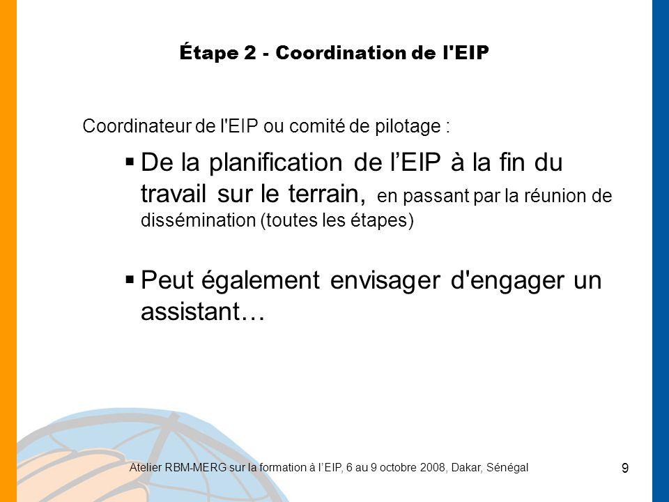 Atelier RBM-MERG sur la formation à lEIP, 6 au 9 octobre 2008, Dakar, Sénégal 10 Étape 3 - Engagement du CSO - Sélection de l échantillon, et plus… Plan d échantillonnage et développement du protocole avec le CSO (période de va-et-vient entre le MoH et le CSO) et éventuellement collecte des données sur le terrain, et autres activités… jusquà lanalyse) Préparation et impression des cartes (grappes et site test sur le terrain) Selon les spécificités nationales, les coûts de traduction des questionnaires et des formulaires de consentement dans les langues locales