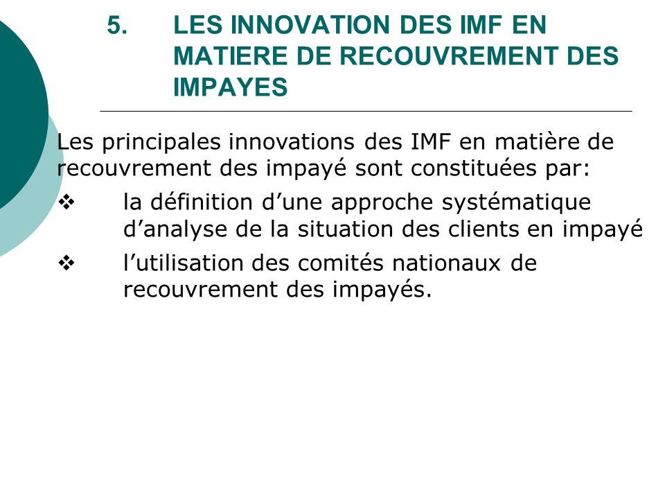 5. LES INNOVATION DES IMF EN MATIERE DE RECOUVREMENT DES IMPAYES Les principales innovations des IMF en matière de recouvrement des impayé sont consti