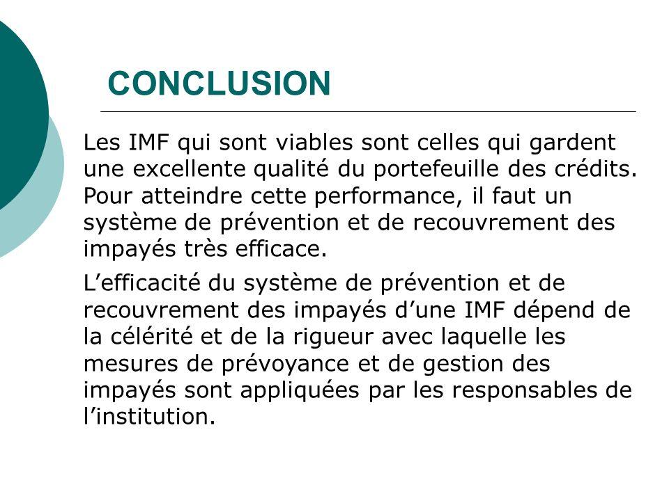 CONCLUSION Les IMF qui sont viables sont celles qui gardent une excellente qualité du portefeuille des crédits. Pour atteindre cette performance, il f