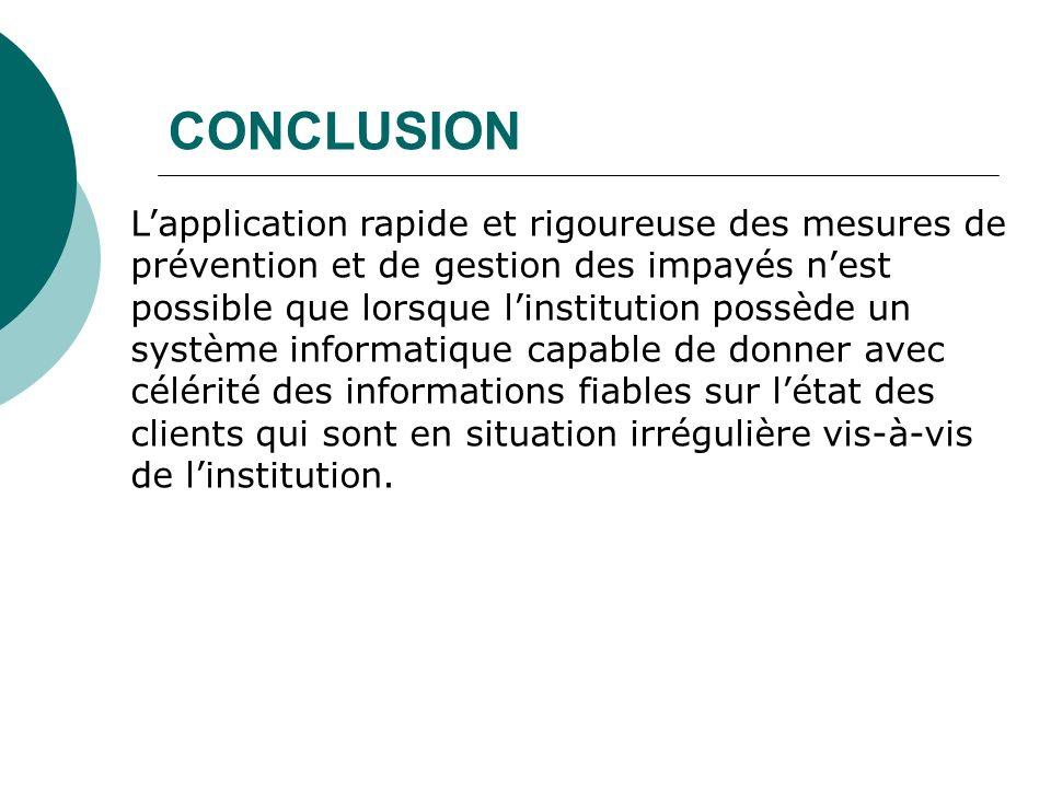CONCLUSION Lapplication rapide et rigoureuse des mesures de prévention et de gestion des impayés nest possible que lorsque linstitution possède un sys