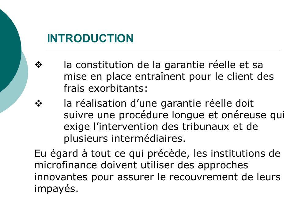 INTRODUCTION la constitution de la garantie réelle et sa mise en place entraînent pour le client des frais exorbitants: la réalisation dune garantie r