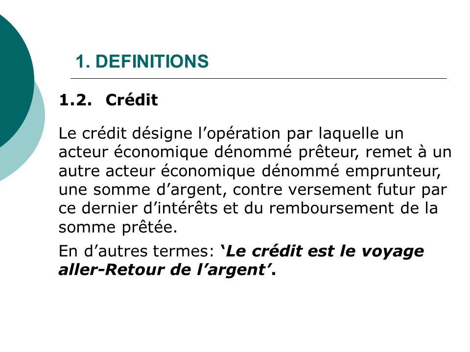 1. DEFINITIONS Le crédit désigne lopération par laquelle un acteur économique dénommé prêteur, remet à un autre acteur économique dénommé emprunteur,