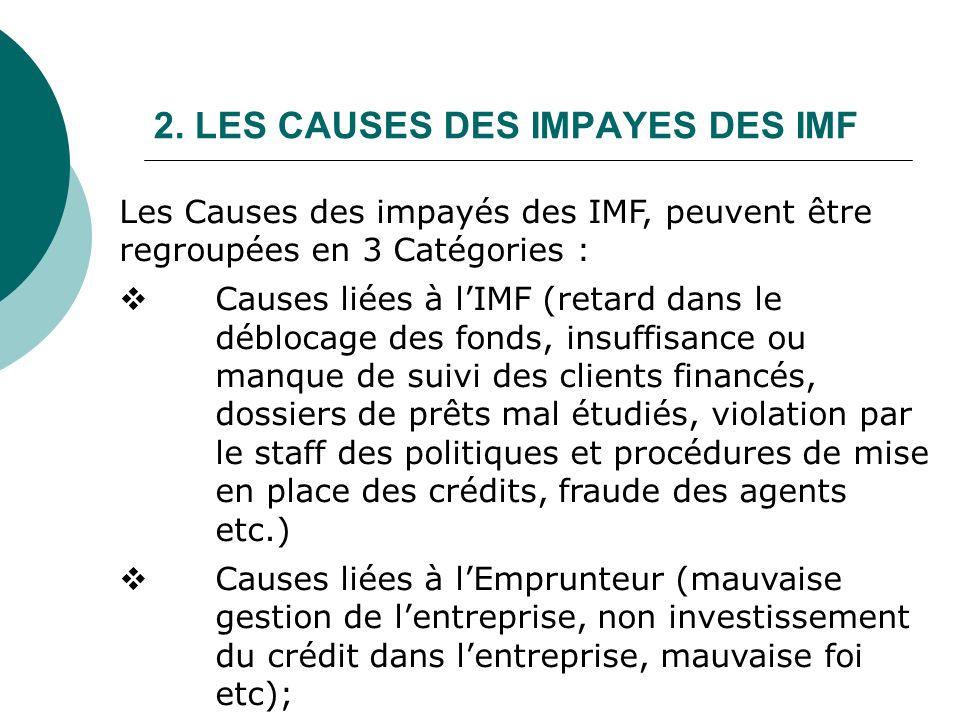 2. LES CAUSES DES IMPAYES DES IMF Les Causes des impayés des IMF, peuvent être regroupées en 3 Catégories : Causes liées à lIMF (retard dans le débloc
