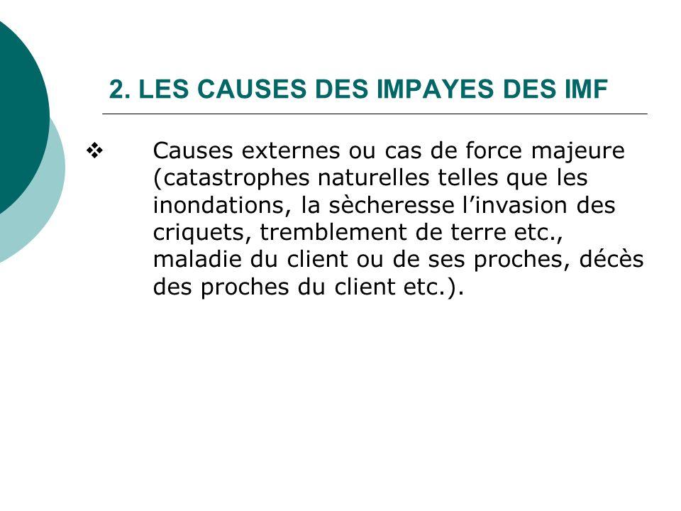 2. LES CAUSES DES IMPAYES DES IMF Causes externes ou cas de force majeure (catastrophes naturelles telles que les inondations, la sècheresse linvasion