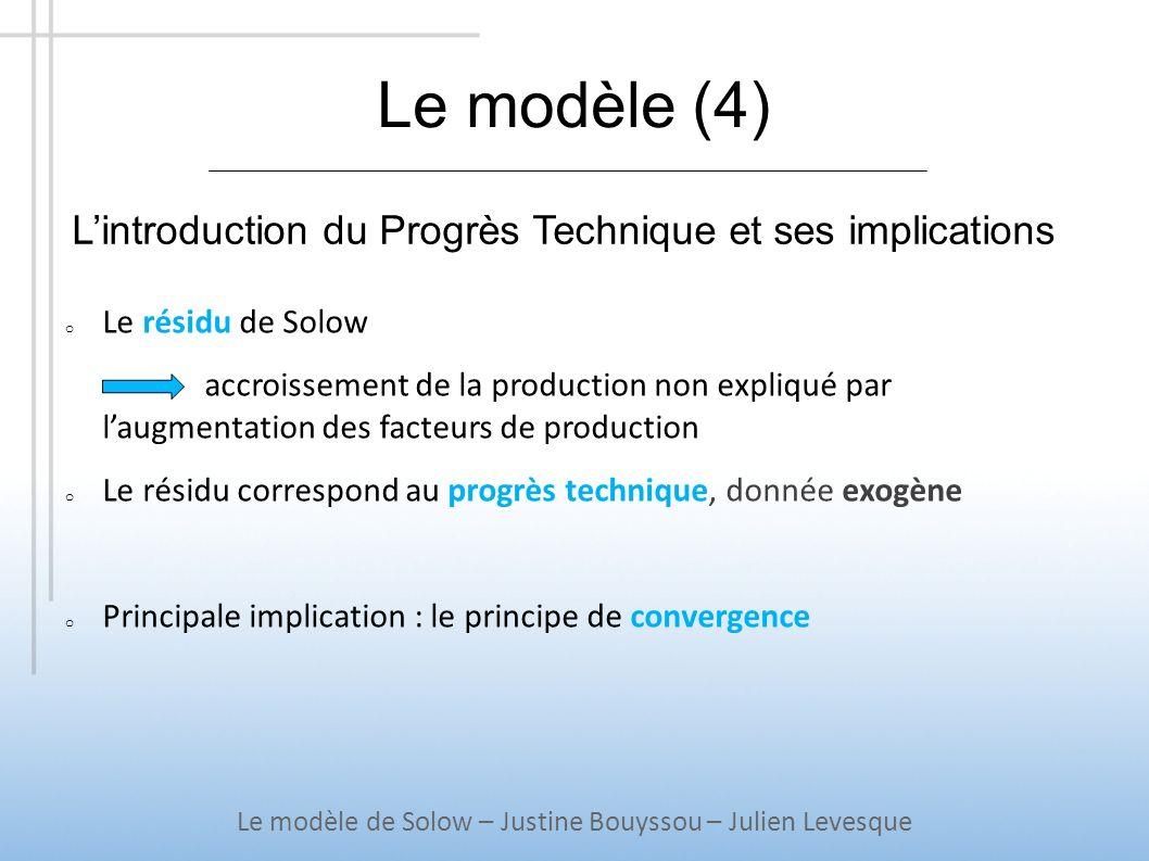 Le modèle (4) o Le résidu de Solow accroissement de la production non expliqué par laugmentation des facteurs de production o Le résidu correspond au