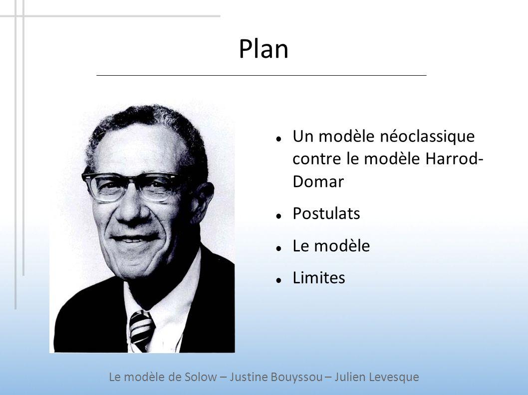 Plan Un modèle néoclassique contre le modèle Harrod- Domar Postulats Le modèle Limites Le modèle de Solow – Justine Bouyssou – Julien Levesque