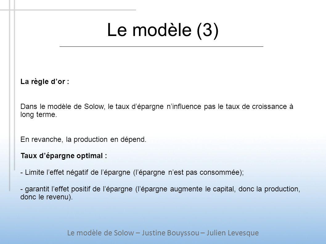 Le modèle (3) Le modèle de Solow – Justine Bouyssou – Julien Levesque La règle dor : Dans le modèle de Solow, le taux dépargne ninfluence pas le taux