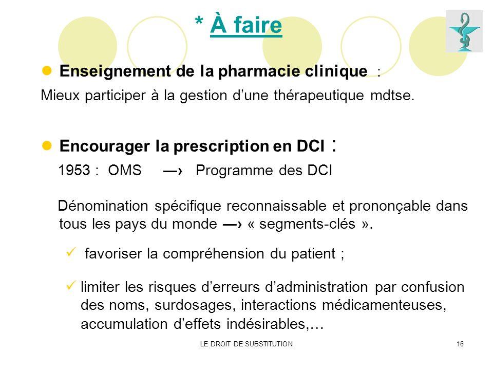 LE DROIT DE SUBSTITUTION16 * À faire Enseignement de la pharmacie clinique : Mieux participer à la gestion dune thérapeutique mdtse. Encourager la pre