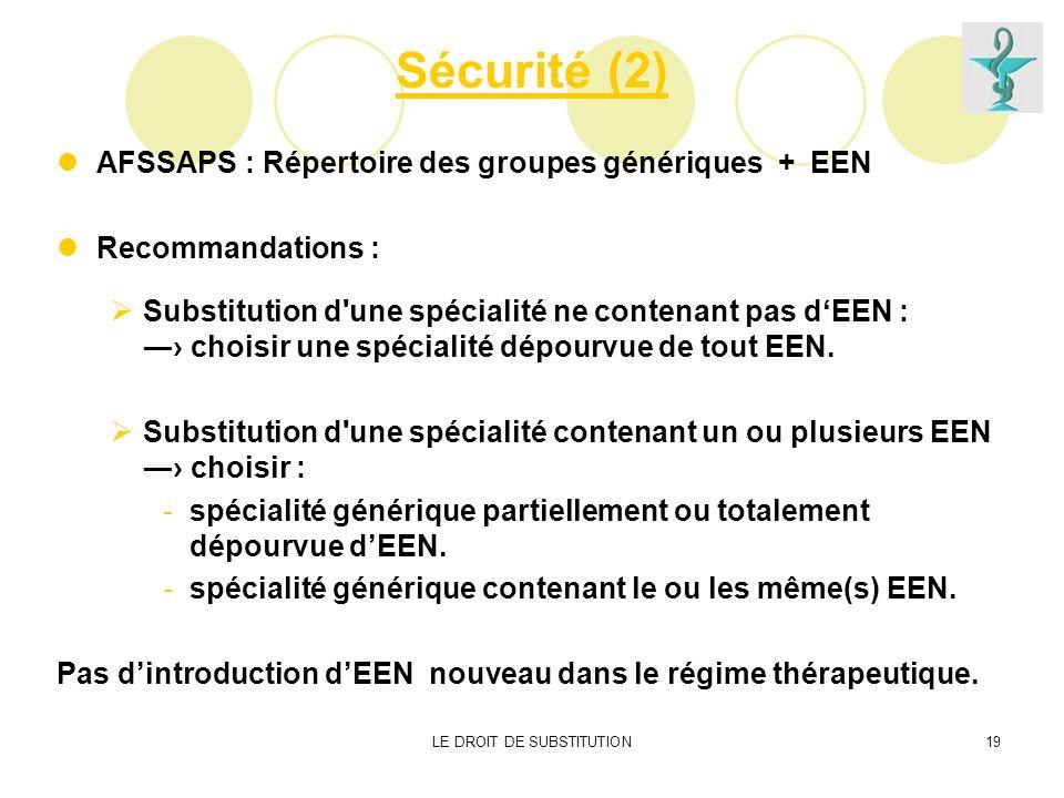 LE DROIT DE SUBSTITUTION19 Sécurité (2) AFSSAPS : Répertoire des groupes génériques + EEN Recommandations : Substitution d'une spécialité ne contenant