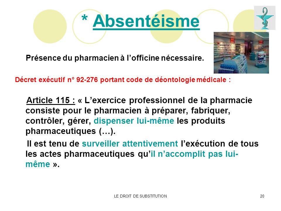 LE DROIT DE SUBSTITUTION20 * Absentéisme Présence du pharmacien à lofficine nécessaire. Décret exécutif n° 92-276 portant code de déontologie médicale