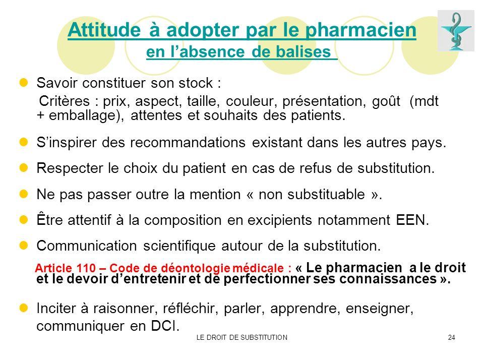 LE DROIT DE SUBSTITUTION24 Attitude à adopter par le pharmacien en labsence de balises Savoir constituer son stock : Critères : prix, aspect, taille,