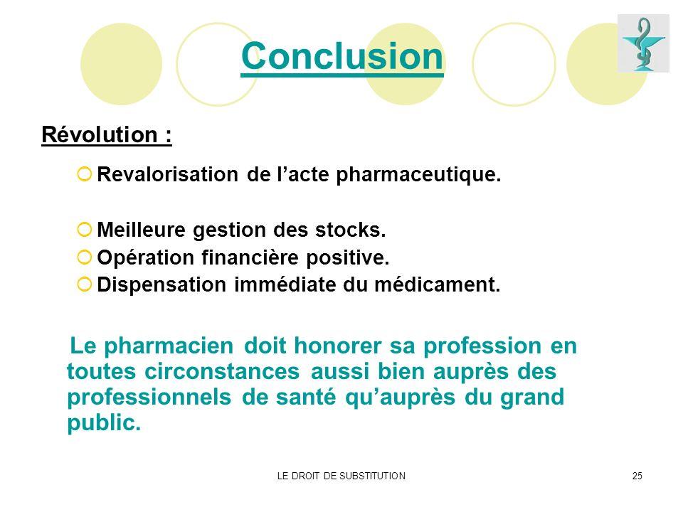 LE DROIT DE SUBSTITUTION25 Conclusion Révolution : Revalorisation de lacte pharmaceutique. Meilleure gestion des stocks. Opération financière positive