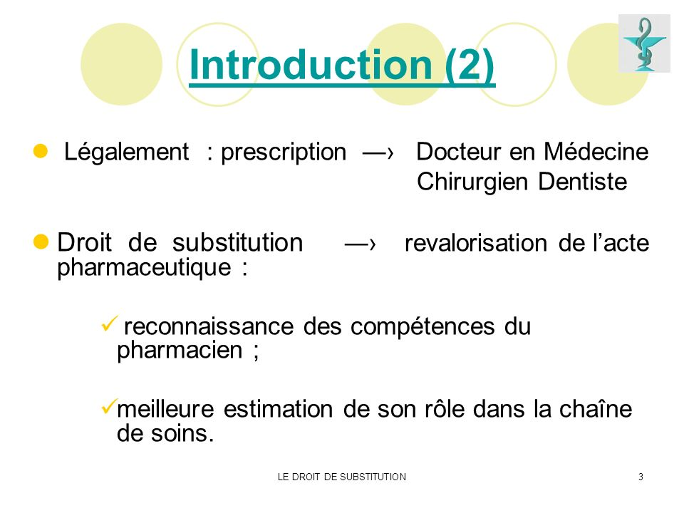 LE DROIT DE SUBSTITUTION3 Introduction (2) Légalement : prescription Docteur en Médecine Chirurgien Dentiste Droit de substitution revalorisation de l