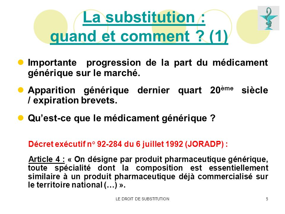 LE DROIT DE SUBSTITUTION5 La substitution : quand et comment ? (1) Importante progression de la part du médicament générique sur le marché. Apparition