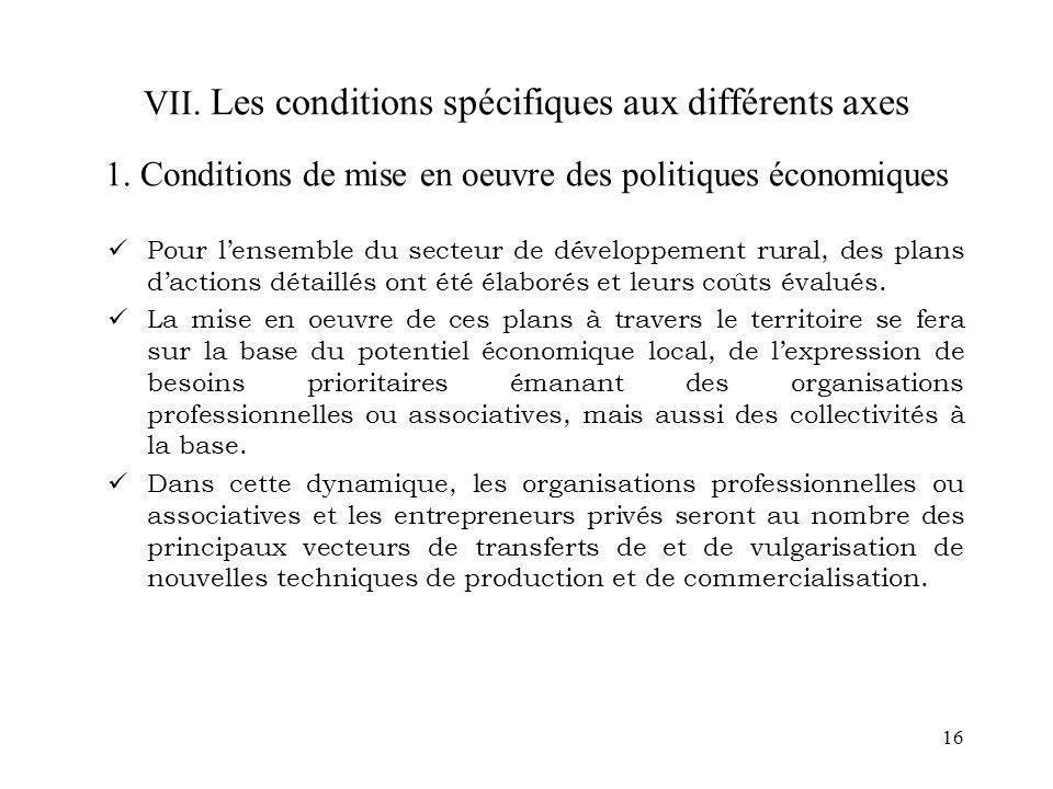 16 VII. Les conditions spécifiques aux différents axes 1. Conditions de mise en oeuvre des politiques économiques Pour lensemble du secteur de dévelop
