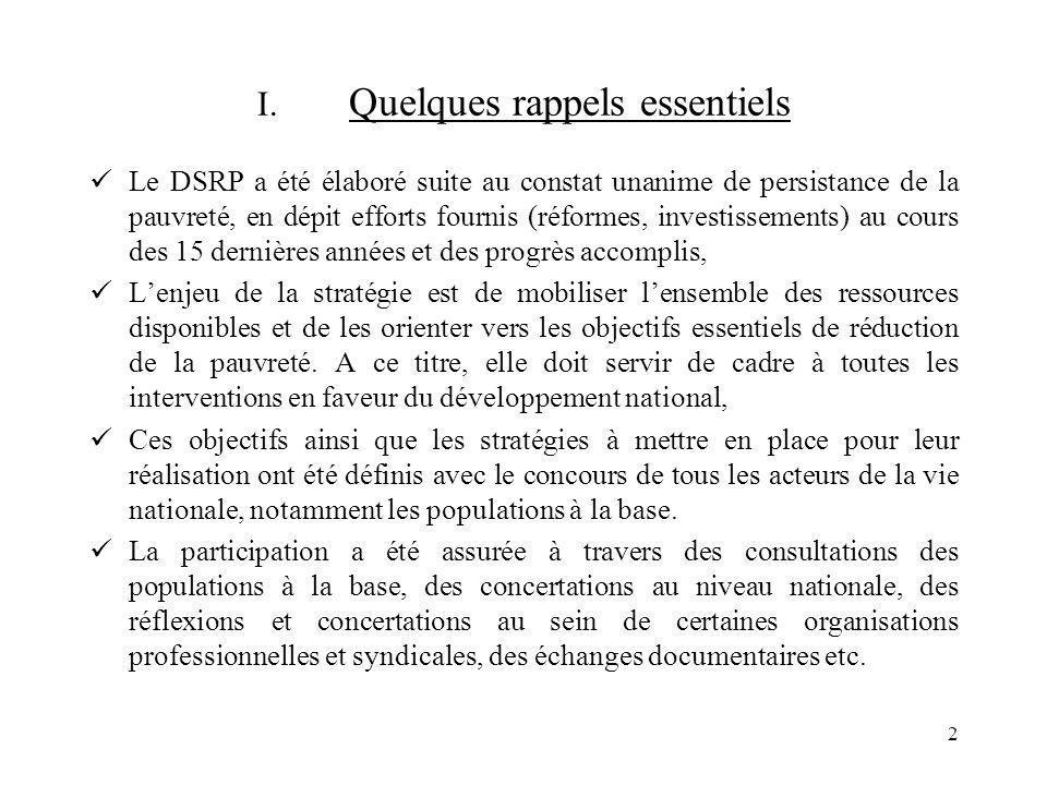 2 I. Quelques rappels essentiels Le DSRP a été élaboré suite au constat unanime de persistance de la pauvreté, en dépit efforts fournis (réformes, inv