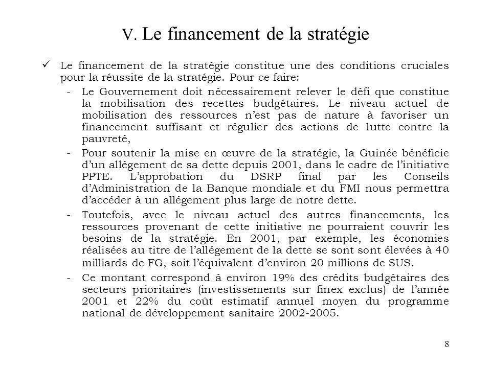 8 V. Le financement de la stratégie Le financement de la stratégie constitue une des conditions cruciales pour la réussite de la stratégie. Pour ce fa
