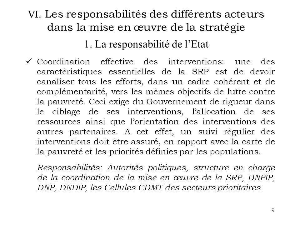 9 VI. Les responsabilités des différents acteurs dans la mise en œuvre de la stratégie 1. La responsabilité de lEtat Coordination effective des interv