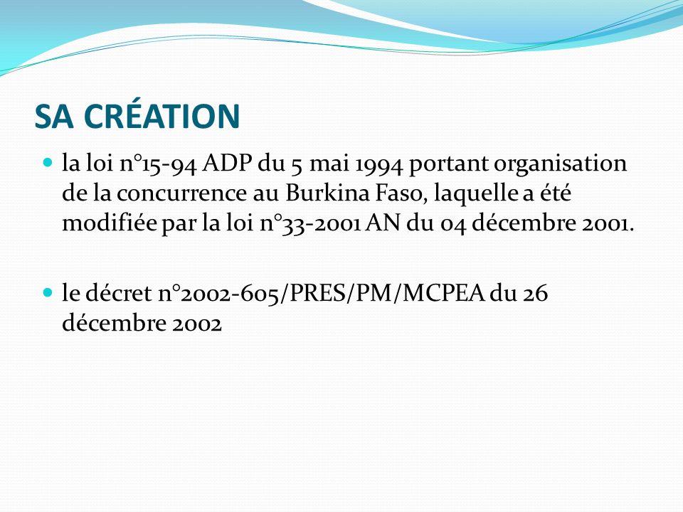 SA CRÉATION la loi n°15-94 ADP du 5 mai 1994 portant organisation de la concurrence au Burkina Faso, laquelle a été modifiée par la loi n°33-2001 AN du 04 décembre 2001.