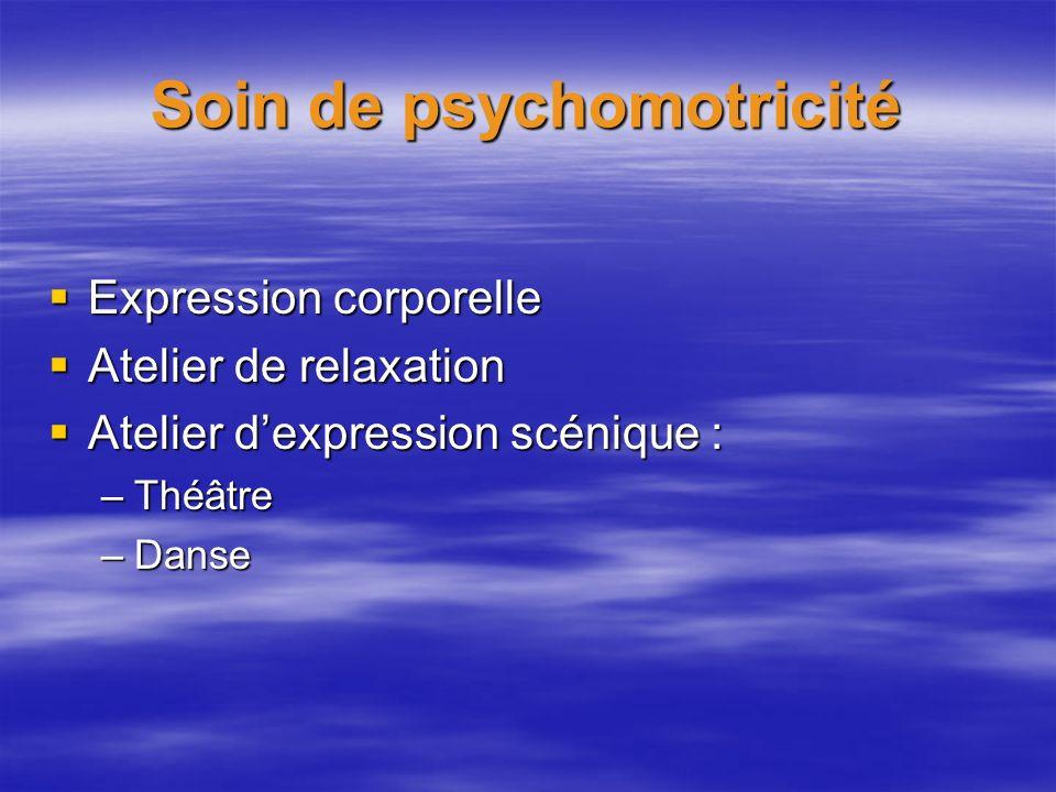 Soin de psychomotricité Expression corporelle Expression corporelle Atelier de relaxation Atelier de relaxation Atelier dexpression scénique : Atelier