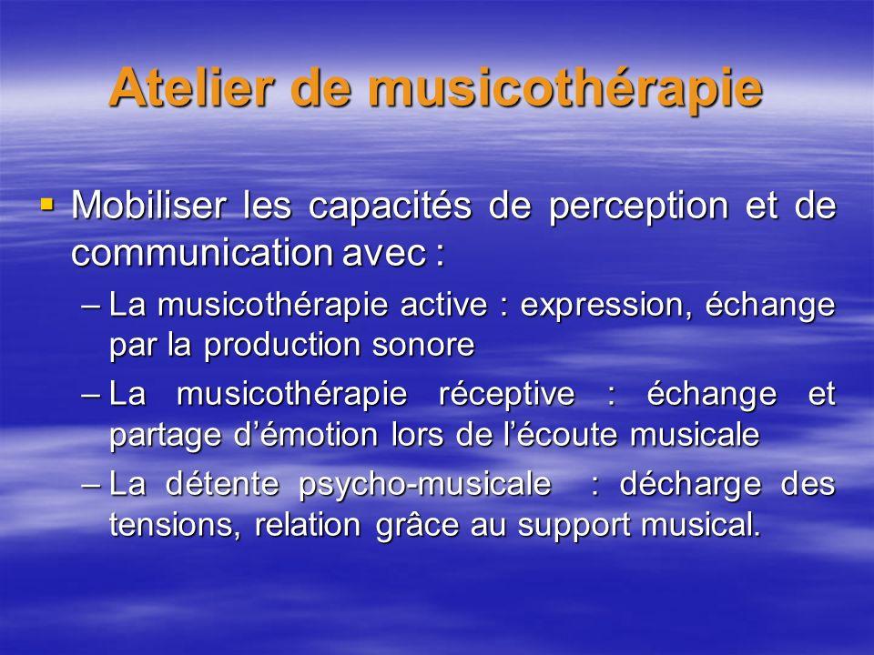 Atelier de musicothérapie Mobiliser les capacités de perception et de communication avec : Mobiliser les capacités de perception et de communication a