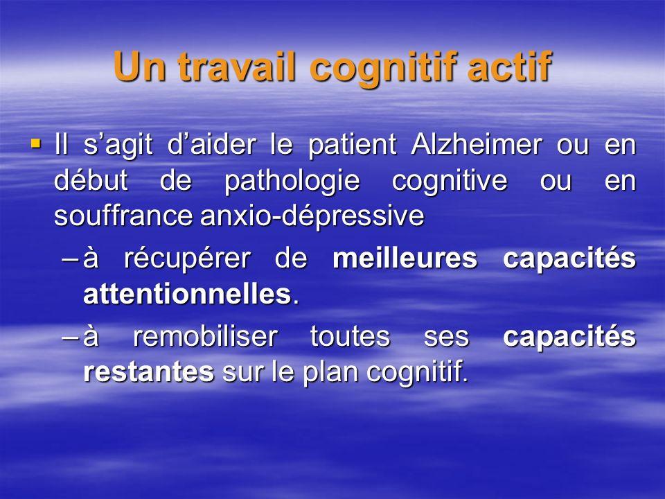 Un travail cognitif actif Il sagit daider le patient Alzheimer ou en début de pathologie cognitive ou en souffrance anxio-dépressive Il sagit daider l
