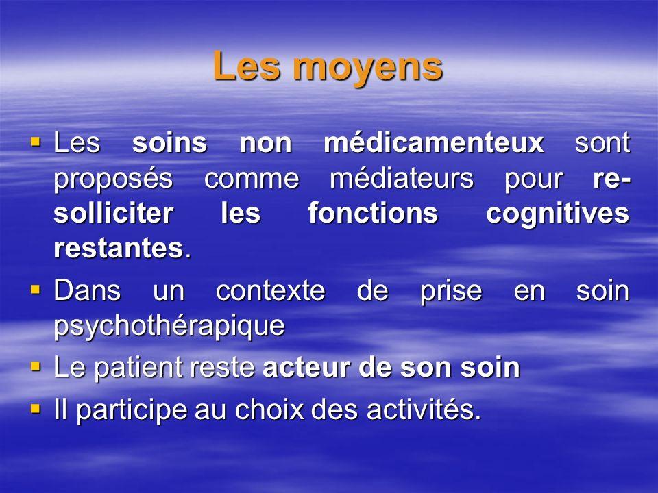 Les moyens Les soins non médicamenteux sont proposés comme médiateurs pour re- solliciter les fonctions cognitives restantes. Les soins non médicament
