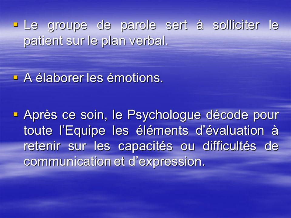 Le groupe de parole sert à solliciter le patient sur le plan verbal. Le groupe de parole sert à solliciter le patient sur le plan verbal. A élaborer l