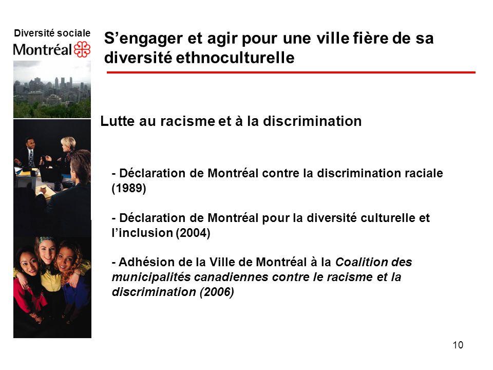 10 Diversité sociale f Sengager et agir pour une ville fière de sa diversité ethnoculturelle Lutte au racisme et à la discrimination - Déclaration de