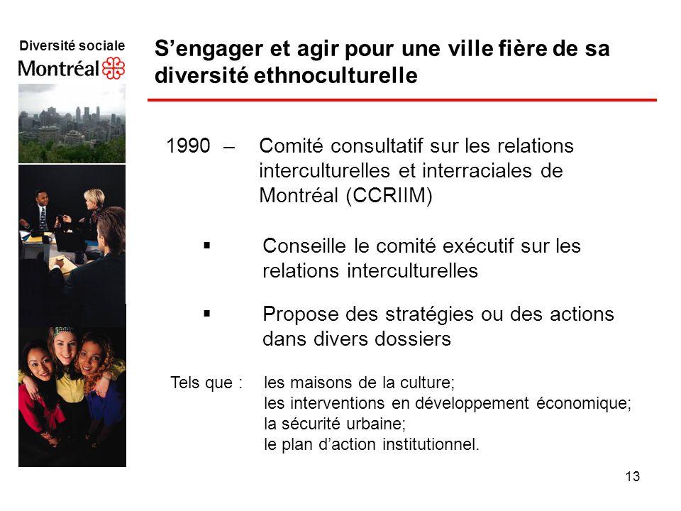13 Diversité sociale f 1990 – Comité consultatif sur les relations interculturelles et interraciales de Montréal (CCRIIM) Conseille le comité exécutif