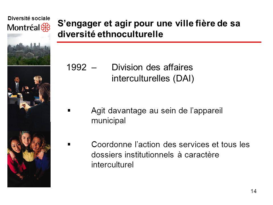 14 Diversité sociale f Agit davantage au sein de lappareil municipal Coordonne laction des services et tous les dossiers institutionnels à caractère i
