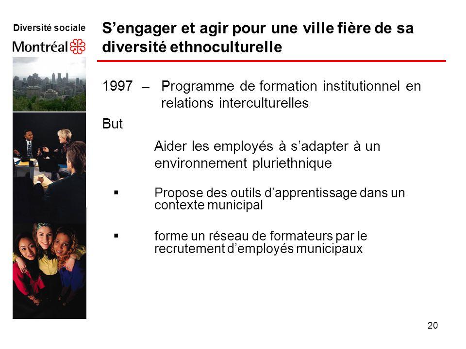 20 Diversité sociale 1997 – Programme de formation institutionnel en relations interculturelles But Aider les employés à sadapter à un environnement p