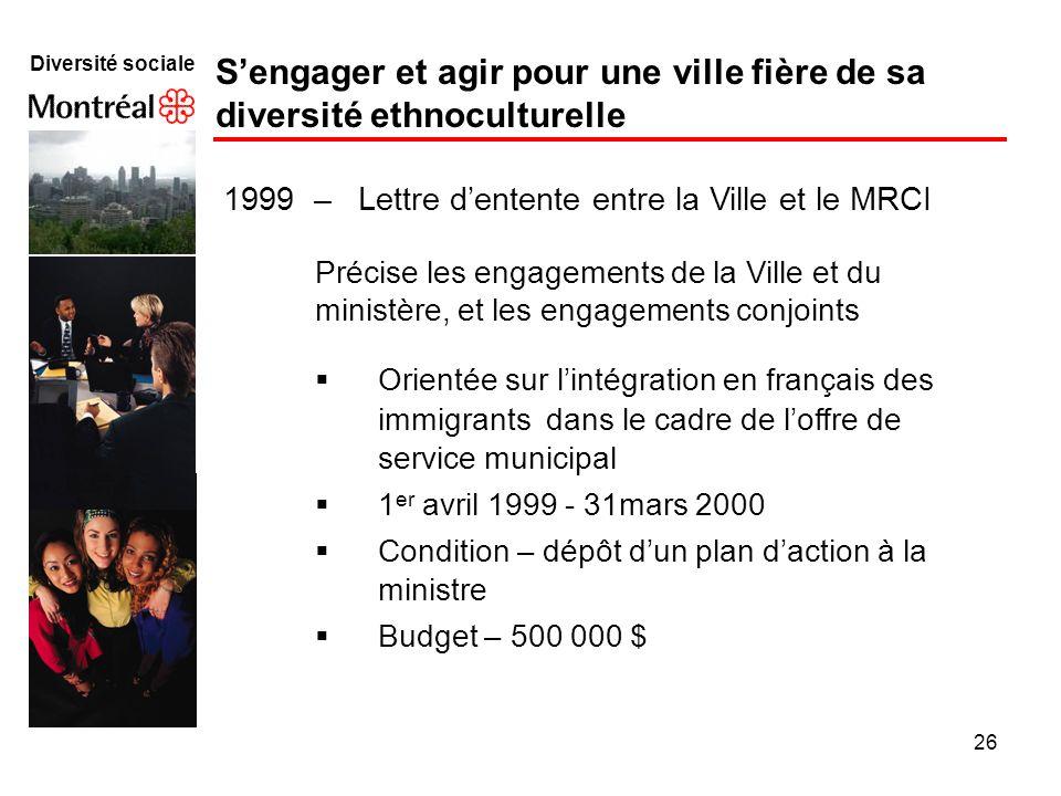 26 Diversité sociale Sengager et agir pour une ville fière de sa diversité ethnoculturelle 1999 – Lettre dentente entre la Ville et le MRCI Précise le