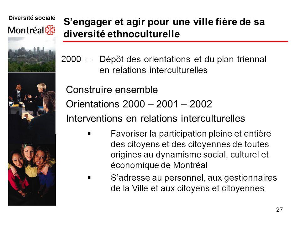 27 Diversité sociale Sengager et agir pour une ville fière de sa diversité ethnoculturelle 2000 – Dépôt des orientations et du plan triennal en relati