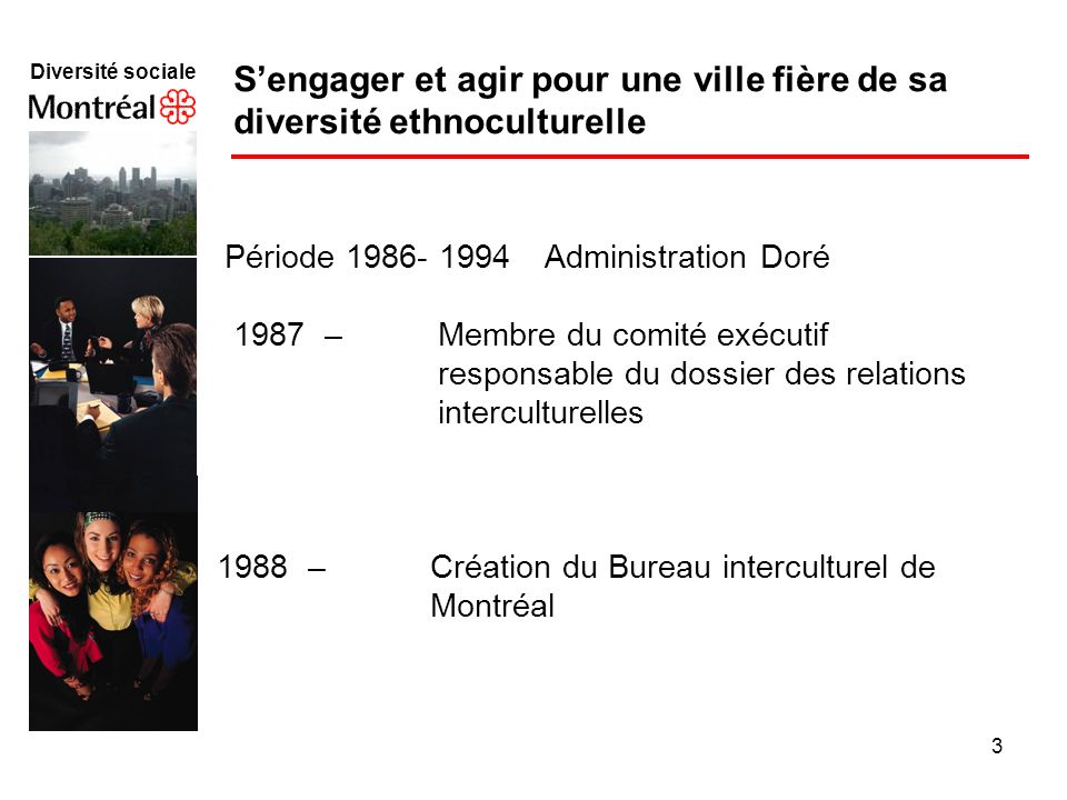 3 Diversité sociale f Sengager et agir pour une ville fière de sa diversité ethnoculturelle Période 1986- 1994 Administration Doré 1987 – Membre du co