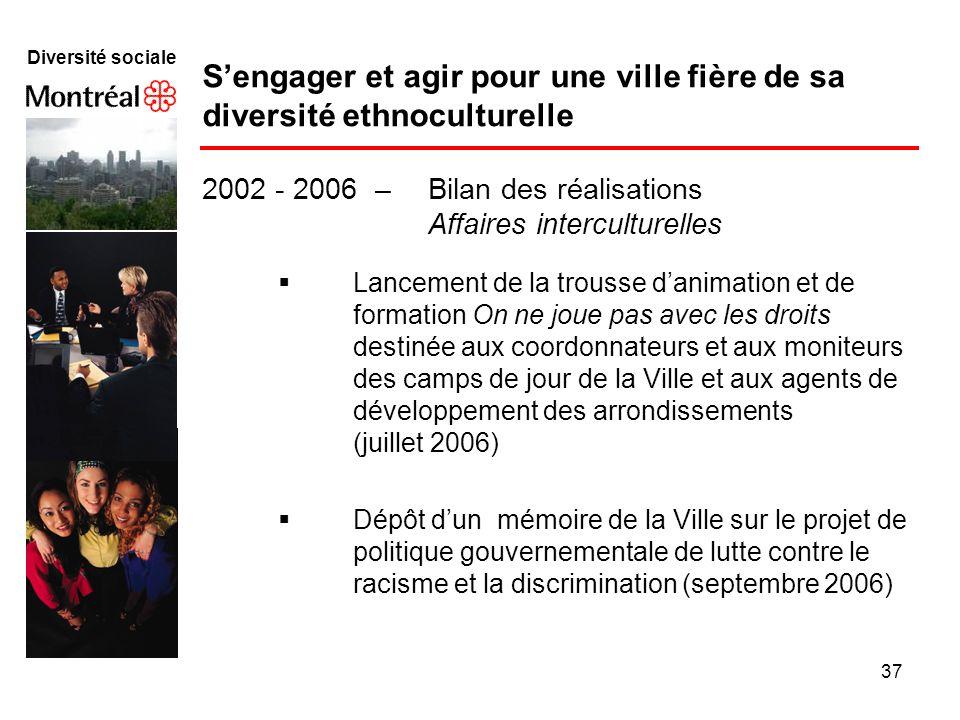 37 Diversité sociale Sengager et agir pour une ville fière de sa diversité ethnoculturelle Lancement de la trousse danimation et de formation On ne jo