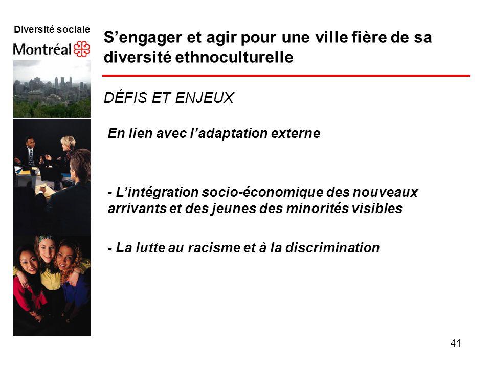 41 Diversité sociale Sengager et agir pour une ville fière de sa diversité ethnoculturelle En lien avec ladaptation externe - Lintégration socio-écono