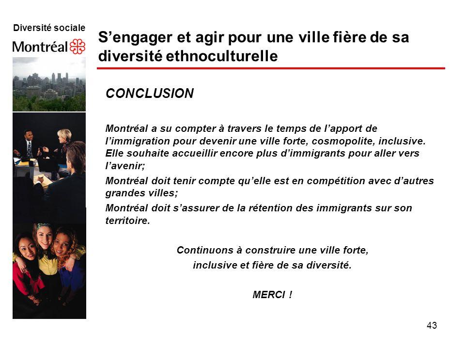 43 Diversité sociale Sengager et agir pour une ville fière de sa diversité ethnoculturelle CONCLUSION Montréal a su compter à travers le temps de lapp