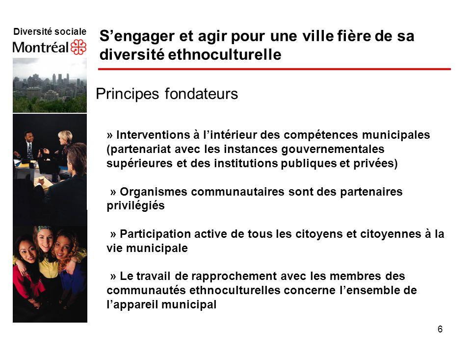 6 Diversité sociale f Sengager et agir pour une ville fière de sa diversité ethnoculturelle Principes fondateurs » Interventions à lintérieur des comp