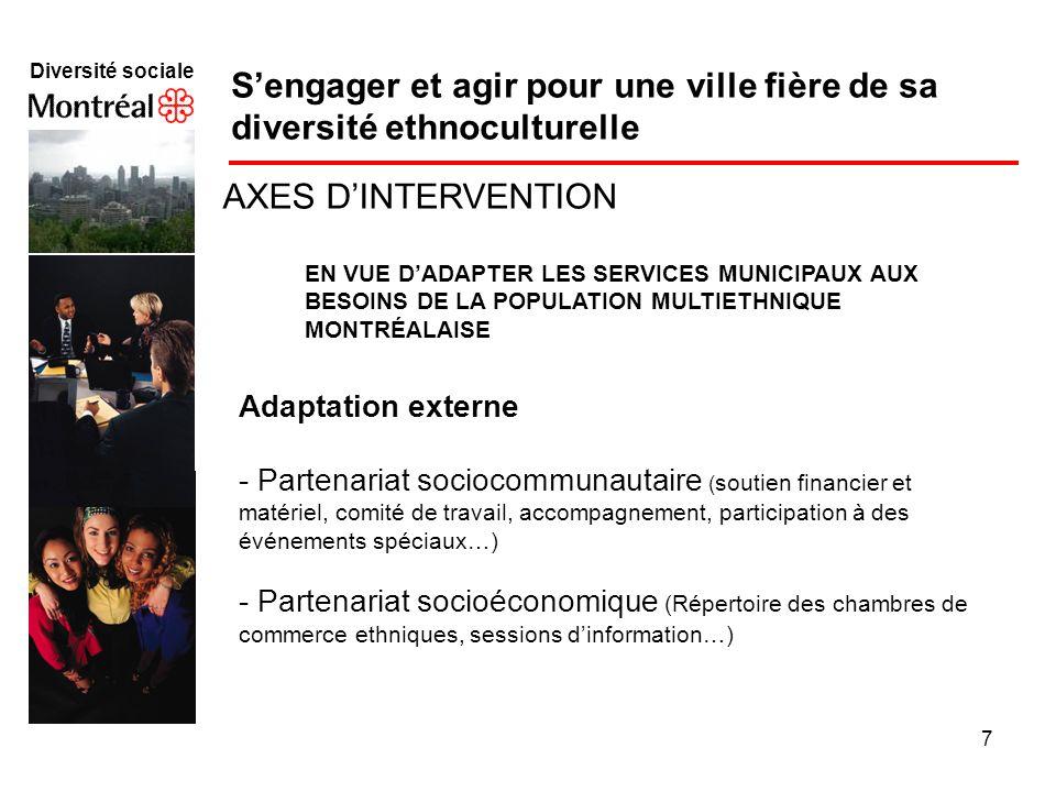 7 Diversité sociale f Sengager et agir pour une ville fière de sa diversité ethnoculturelle AXES DINTERVENTION EN VUE DADAPTER LES SERVICES MUNICIPAUX