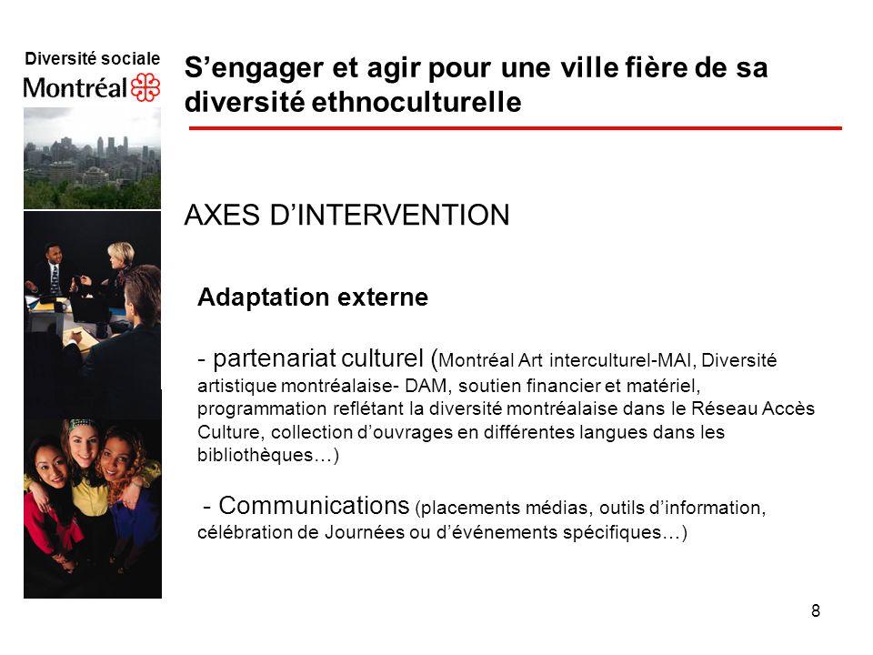 8 Diversité sociale f Sengager et agir pour une ville fière de sa diversité ethnoculturelle AXES DINTERVENTION Adaptation externe - partenariat cultur
