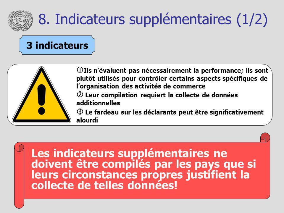 8. Indicateurs supplémentaires (1/2) Les indicateurs supplémentaires ne doivent être compilés par les pays que si leurs circonstances propres justifie