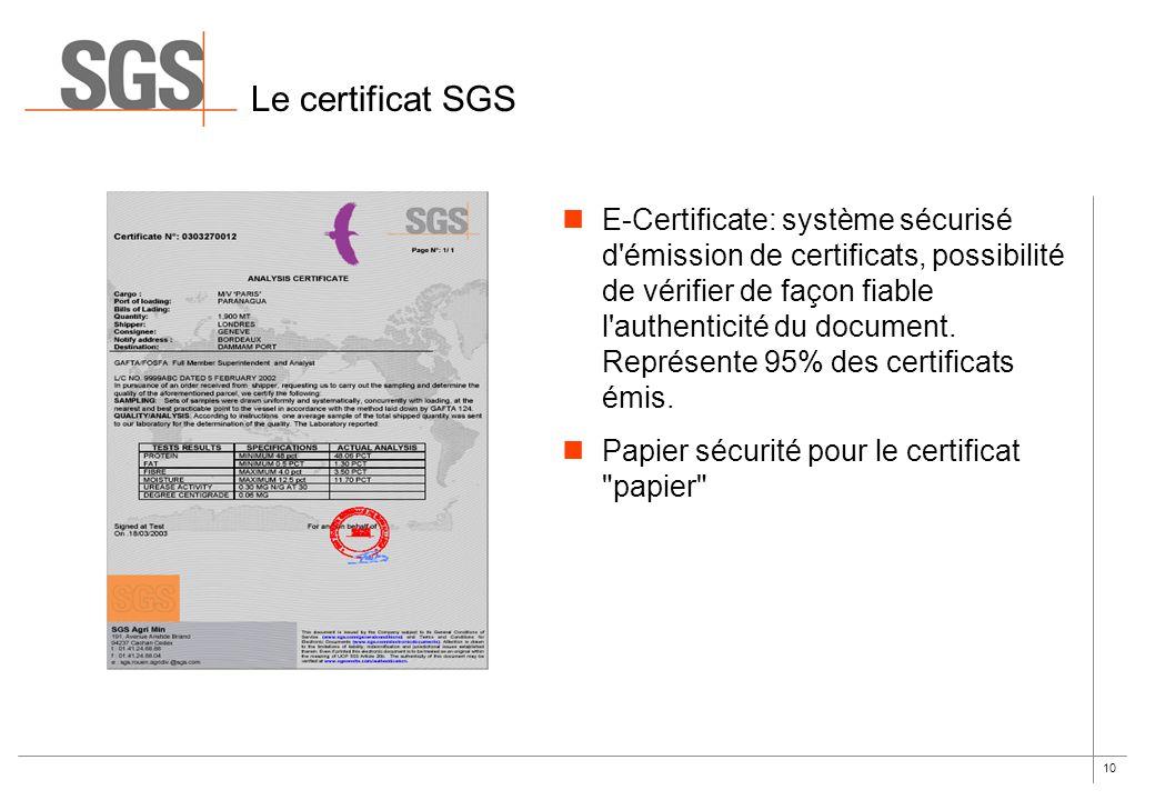 10 Le certificat SGS E-Certificate: système sécurisé d'émission de certificats, possibilité de vérifier de façon fiable l'authenticité du document. Re