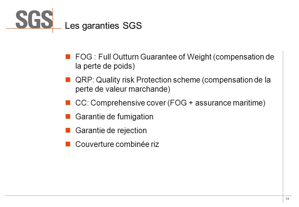 14 Les garanties SGS FOG : Full Outturn Guarantee of Weight (compensation de la perte de poids) QRP: Quality risk Protection scheme (compensation de l