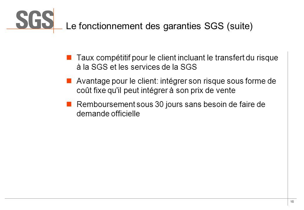 16 Le fonctionnement des garanties SGS (suite) Taux compétitif pour le client incluant le transfert du risque à la SGS et les services de la SGS Avant
