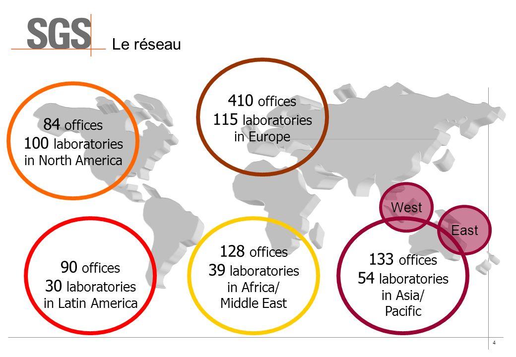 4 Le réseau 84 offices 100 laboratories in North America 90 offices 30 laboratories in Latin America 410 offices 115 laboratories in Europe 128 office
