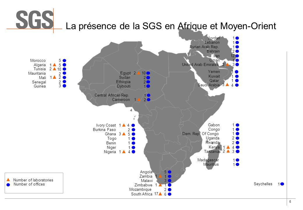 5 La présence de la SGS en Afrique et Moyen-Orient 1 1 3 4 Yemen Kuwait Qatar Saudi Arabia 1 1 1 2 Jordan Lebanon Syrian Arab Rep. Bahrain 1 12 Iran O