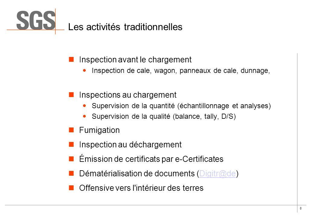 8 Les activités traditionnelles Inspection avant le chargement Inspection de cale, wagon, panneaux de cale, dunnage, Inspections au chargement Supervi