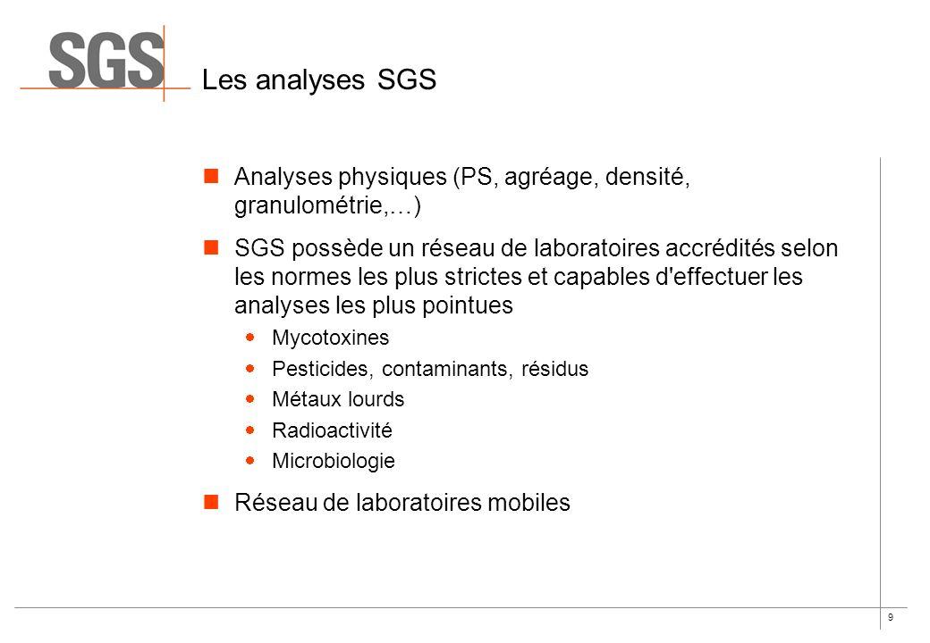 9 Les analyses SGS Analyses physiques (PS, agréage, densité, granulométrie,…) SGS possède un réseau de laboratoires accrédités selon les normes les pl