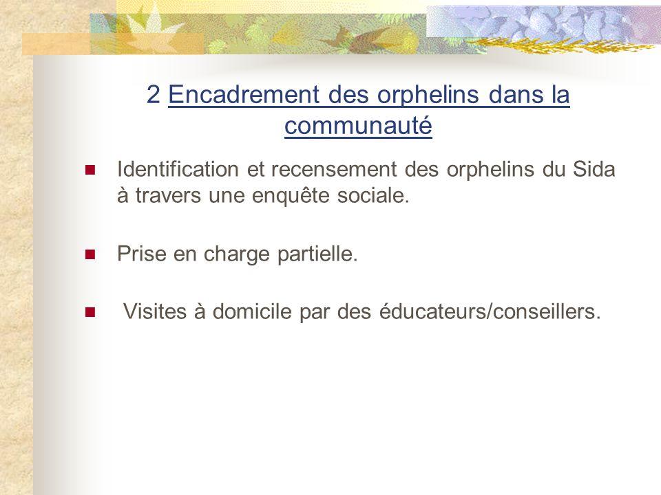2 Encadrement des orphelins dans la communauté Identification et recensement des orphelins du Sida à travers une enquête sociale.